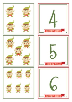 Elf Number Match Cards 1 - 20