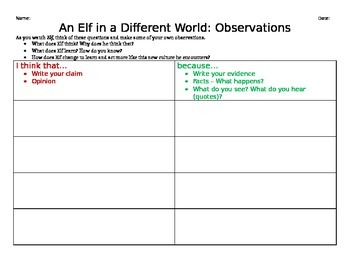 """Elf"" Observations Graphic Organizer"