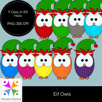 Elf Owls Clip Art Set- Perfect for Christmas Activities