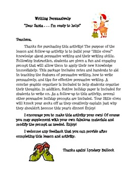 Elf Persuasive Writing- Santa, I'm ready to help!