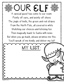 Elf Poem Wishlist Writing Activity