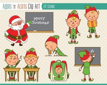 Elf School Clip Art - color and outlines
