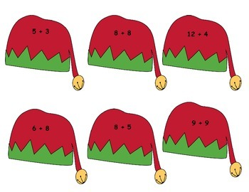 Elf Shoe and Hat Addition and Subtraction Memory Match Game