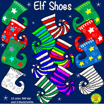 Fun Elf Shoes and Stockings Clip Art