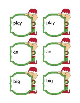 Elf Sight Word Matching Center