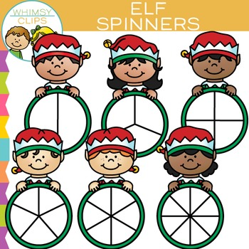 Elf Spinners for Christmas Clip Art