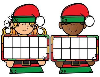 Elf Ten Frame Cards