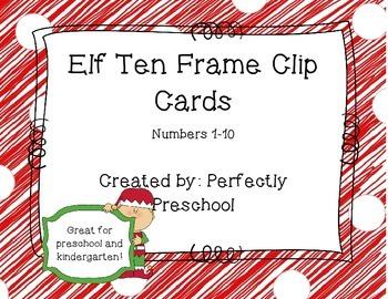 Elf Ten Frame Clip Cards
