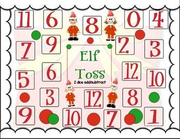 Elf Toss Christmas Math Fun