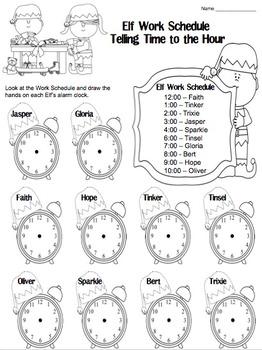 Elf Work Schedule Telling Time (Hour, Half Hour, Quarter Hour)