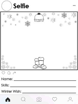 Elf Yourself Elf Selfie Instagram themed Worksheets