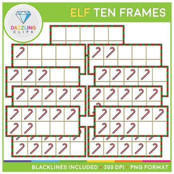 Elf and Candy Cane Ten Frames Clip Art