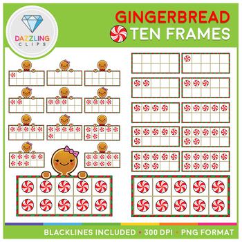 Christmas Gingerbread Ten Frames Clip Art