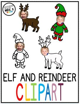Elf and Reindeer Faceless Clip Art Black/White and Color Transparent Background