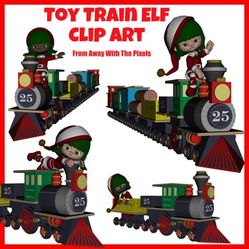 Elf and Toy Train Clip Art - Clipart for Teachers