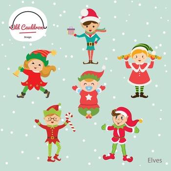 Elf clipart commercial use, christmas elf clip arts, digit