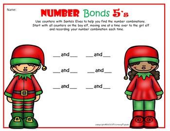 Elf on the Shelf Christmas Math Number Bonds