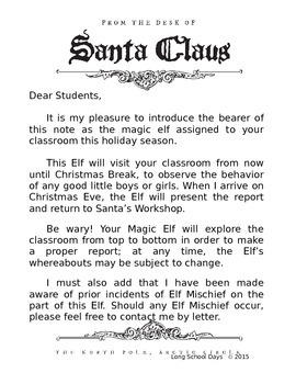 Elf in the Classroom Letter