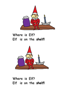 Elf Printable Book with Word Cards and Response Activity: Level B