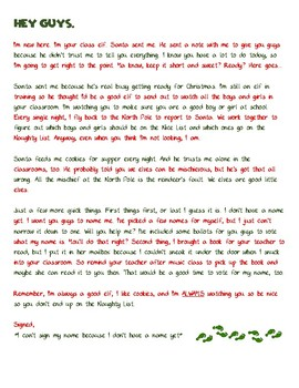 Elf on the Shelf Santa Letter and Elf Letter - 3rd Grade