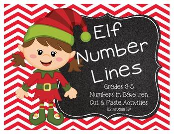 Elf themed cut & paste math centers
