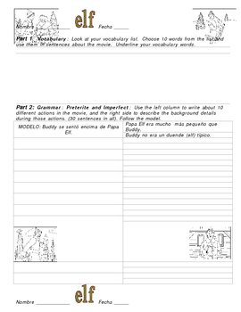Elf video activity packet- Spanish - YOUR Vocabulary and Grammar