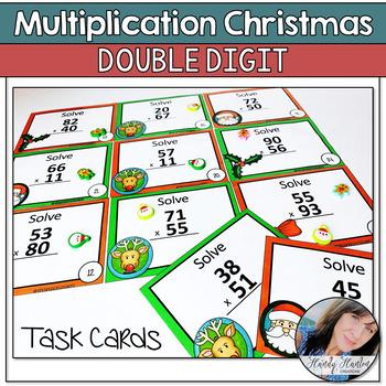 Elfin Double Digit Multiplication Task Cards