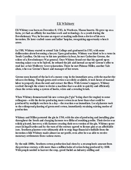 Eli Whitney Article and Reading Comprehension Assignment