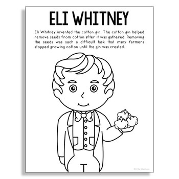 Eli Whitney Coloring Page Activity or Poster with Mini Bio