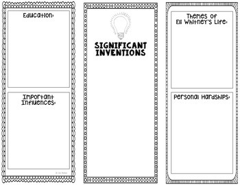 Eli Whitney - Inventor Research Project Interactive Notebook, Science