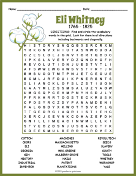Eli Whitney Word Search Puzzle