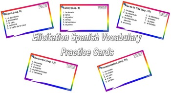Elicitation Spanish Vocab Practice Cards