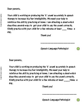 Eliciting the /k/ Sound (Note to Parents)