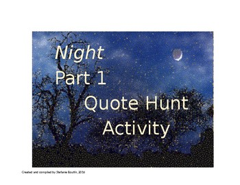Elie Wiesel Night Part 1 QUOTE HUNT and Comprehension Questions
