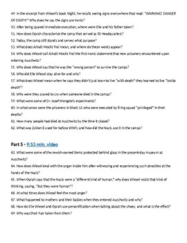 Elie Wiesel and Oprah at Auschwitz Viewing Guide - 72 questions with KEY!