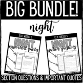 Elie Wiesel's Night Questions and Important Quotes Bundle
