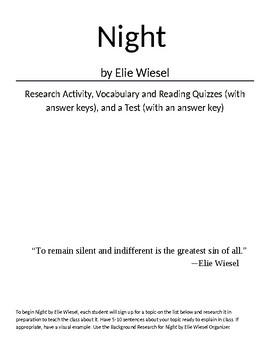 Elie Wiesel's Night: Research, Quizzes, Test