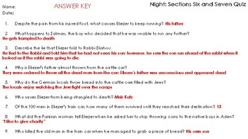 Elie Wiesel's Night: Sections Six and Seven Reading Comprehension Quiz