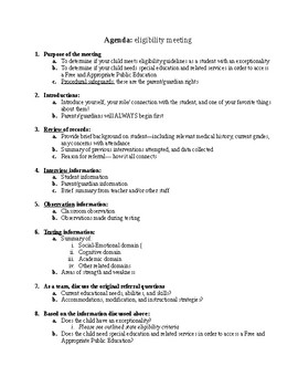 Eligibility meeting agenda-