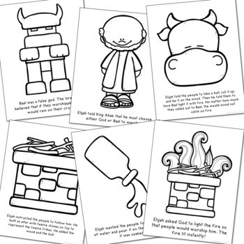 Elijah and the Prophets of Baal Coloring Pages and Craft Set