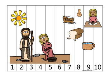 Elijah and the Widow 1-10 Sequence Puzzle printable game. Preschool Bible Study