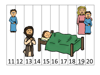 Elijah and the Widow 11-20 Sequence Puzzle printable game. Preschool Bible Study
