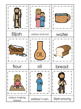 Elijah and the Widow 3 Part Matching printable game. Preschool Bible Study Curr