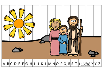Elijah and the Widow A-Z Sequence Puzzle printable game. Preschool Bible Study