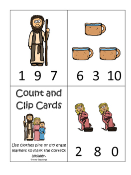 Elijah and the Widow Count and Clip printable game. Presch