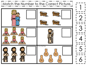 Elijah and the Widow Match the Number printable game. Preschool Bible Study Curr