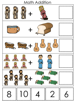 Elijah and the Widow Math Addition printable game. Preschool Bible Study Curri