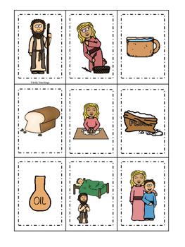 Elijah and the Widow Memory Match printable game. Preschool Bible Study Curri