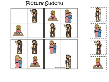 Elijah and the Widow Picture Sudoku printable game. Presch