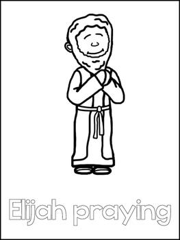 Elijah and the Widow Printable Color Sheets. Preschool Bible Study Curriculum.